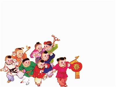 中国春节烧香儿童画; 春节贴对联儿童画图片下载分