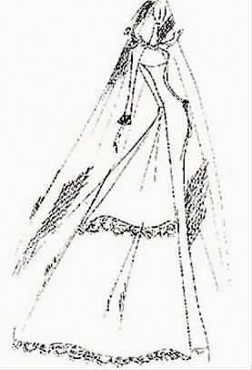 手绘古代嫁衣设计图纸