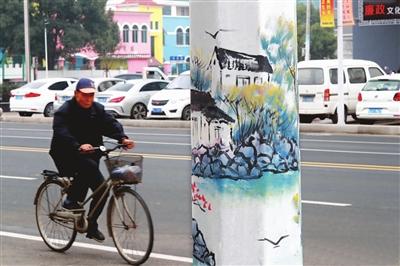 市路桥区横街镇5条主干道的电线杆绘上了山水,人文等不同题材的风景画图片